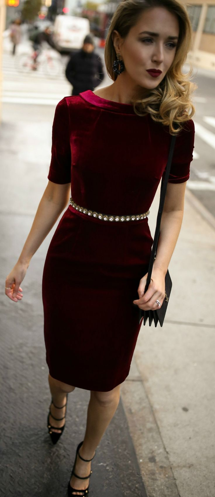 Red velvet sheath dress, embellished black waist belt, black strappy Mary Jane pumps, black leather cross body bag, statement earrings and a dark red lip {Holiday style, Christmas party, what to wear to an office holiday party, office holiday, cocktail at