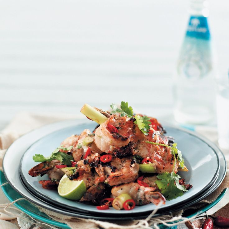 Lime, chilli and coconut prawns