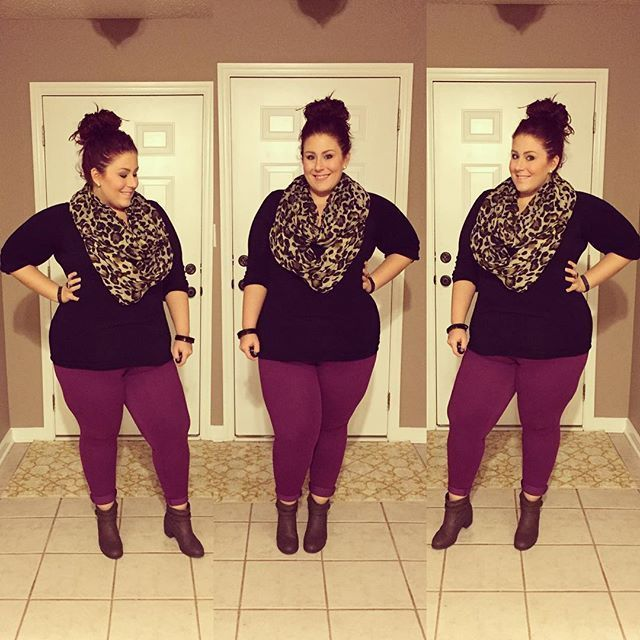 Plus Size Fashion - Scarf| target Pants| no nonsense jeggings Boots| Payless