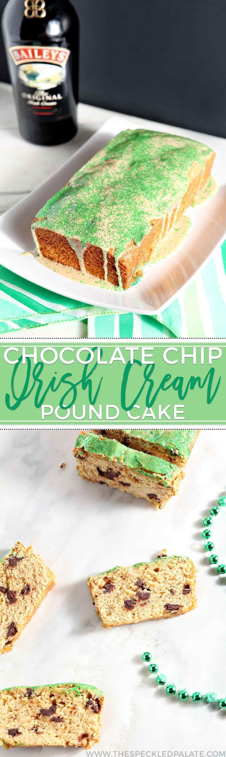 Show up to this year's St. Patrick's Day festivities or BRUNCH with a Chocolate Chip Irish Cream Pound Cake! This decadent cake, made with a large pour of Bailey's Irish Cream, is studded with dark chocolate chips. Dense and moist with a fluffy interior a