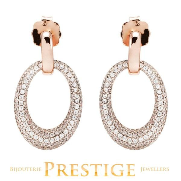 BRONZALLURE ALTISSIMA OVAL PAVE EARRINGS