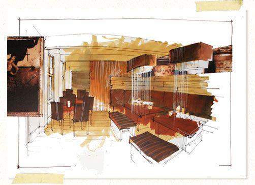 Good prismacolor marker interior renderings artwork for Interior design drawing tips