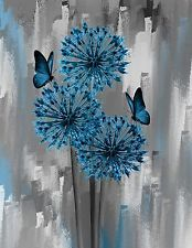 Blue Gray Flowers Butterfly Wall Art Home Decor Matted Picture