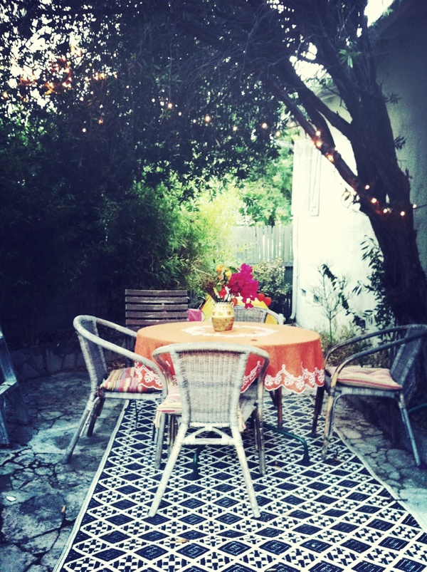 boho yard: Boho Living, Outdoor Rugs, Patio Backyard Tile, Living Room, Boho Porches, Beautiful Tile Patio, Back Porches, Boho Yard, Outdoor Spaces