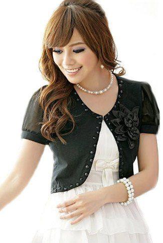 Amazon.co.jp: (アンフィニ) infini 半袖ボレロ 結婚式 パーティードレスボレロ 白 ピンク 黒 フリーサイズ (黒(ブラック)): 服&ファッション小物通販