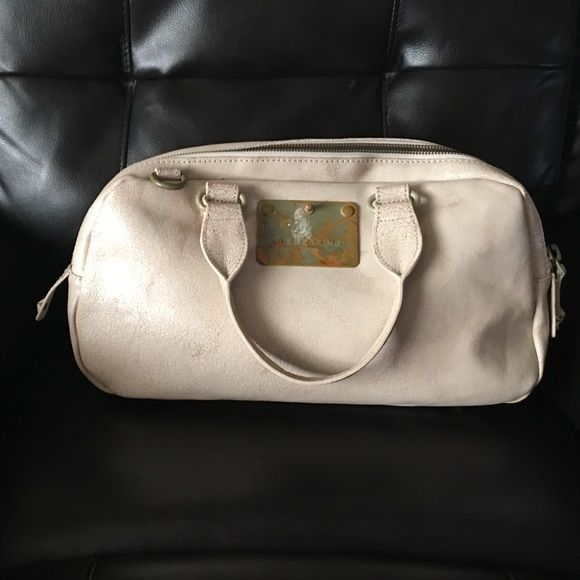 Liebskind Handbag Barely used off-white/taupe edgy distressed  Liebskind handbag. Dimensions are: 15in across & 9in tall. Two top  zipper sections, zip pocket inside as well as slip pockets. Liebeskind Bags Satchels