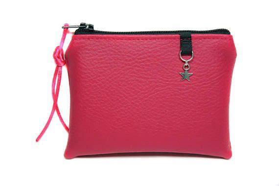 petit porte-monnaie rose fuchsia en imitation cuir femme