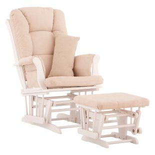 Storkcraft Tuscany Glider and Ottoman with Free Lower Lumbar Pillow - White Finish with Beige Cushions - Indoor Rocking Chairs at Rocking Ch...