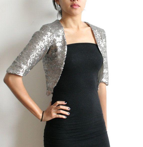 Ermäßigte Medium - neue Silber - Silber Pailletten Braut Bolero, silbernen Pailletten-Jacke, Silber Bolero, Braut Bolero, glänzend Silber Bolero