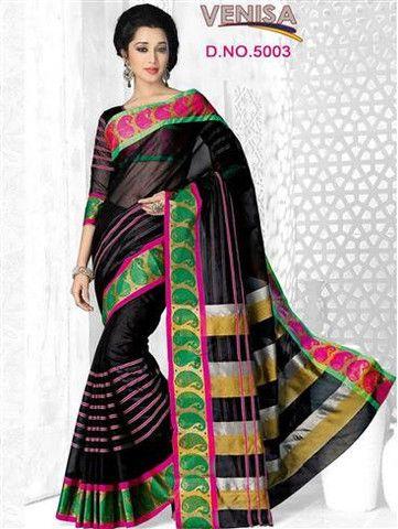 Venisa 5003 - Black and Multicolor Cotton Silk Saree