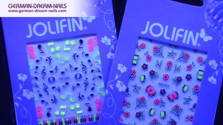 Jolifin Neon Sticker by GDN.de  #jolifin #nailart #neon http://www.german-dream-nails.com Knallige Farben und auffällige Motive bringen jede Nagelmodellage zum Strahlen. Die neuen Jolifin Neon Sticker sorgen durch ihre freche Optik für einen einzigartigen Look und verwandeln jede Nailart in ein auffälliges kleines Kunstwerk. Wähle Dein Lieblingsmotiv und verleihe Deinen Fingernägel einen ganz besonderen Neon-Look.