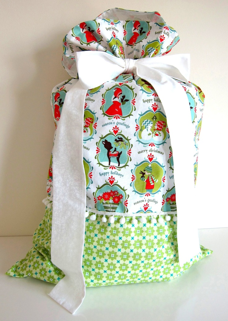 Santa Sack, eco gift wrapping.. $49.80, via Etsy. love the two materials put together