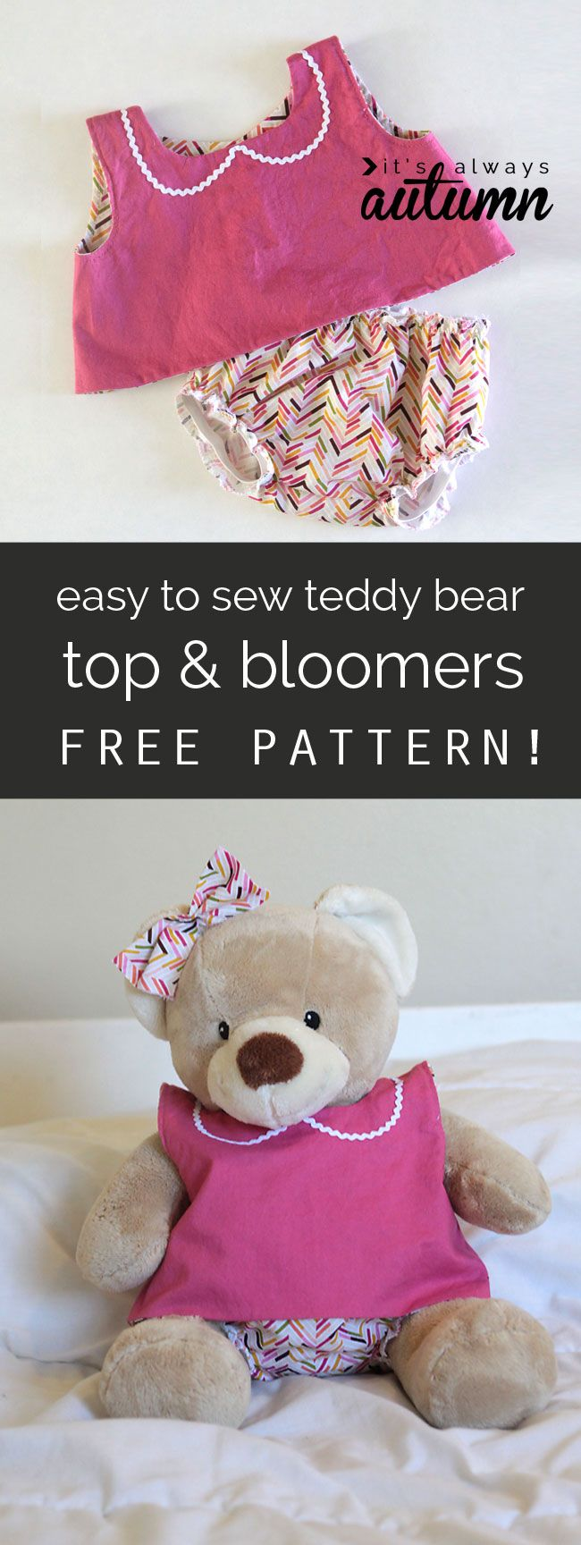 love this! free sewing pattern for these easy teddy bear clothes - will fit build a bear animals - I'm going to make some of these for my daughter for Christmas.