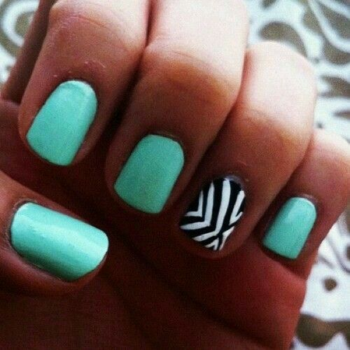115 best beautiful nails you will love images on pinterest nice green with one nail patterned prinsesfo Images