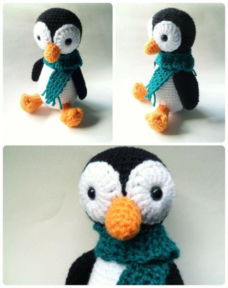 Pingüino friolero amigurumi.