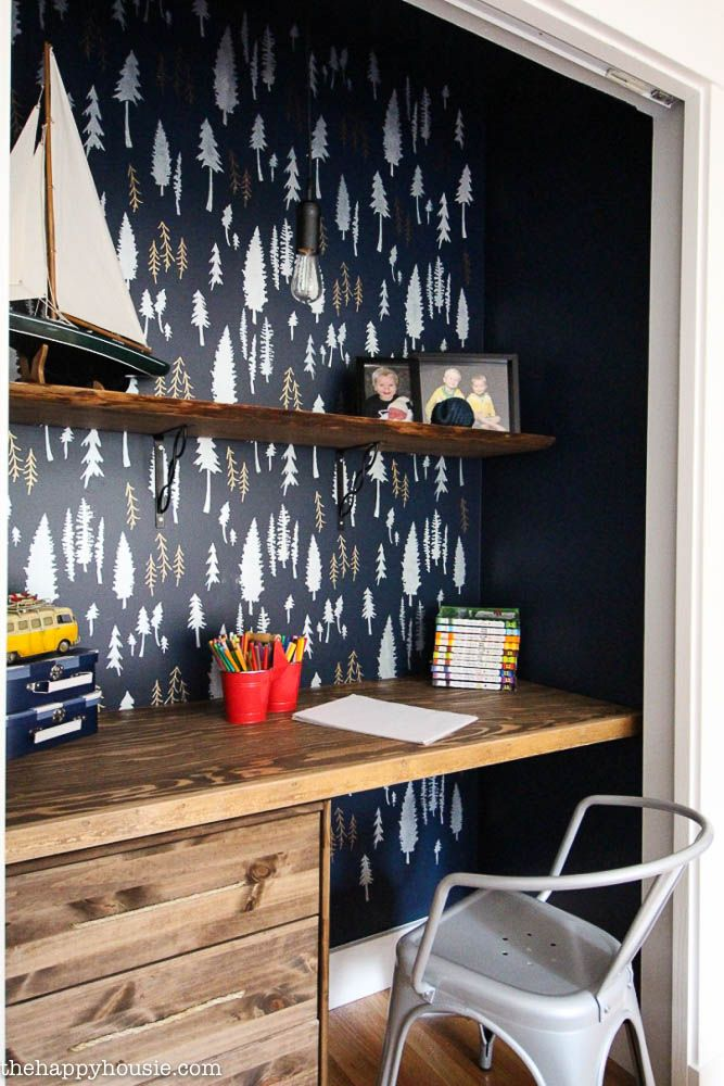 DIY Closet Turned Into A Workspace With Beautiful Stenciled Accent Wall In  Boys Room   Wall