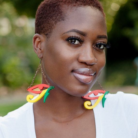 Das Auge des Horus / / Ägypten / / afrozentrische / / natürliche Holz handgemalte Ohrringe / / Afrika und der Karibik inspiriert Schmuck