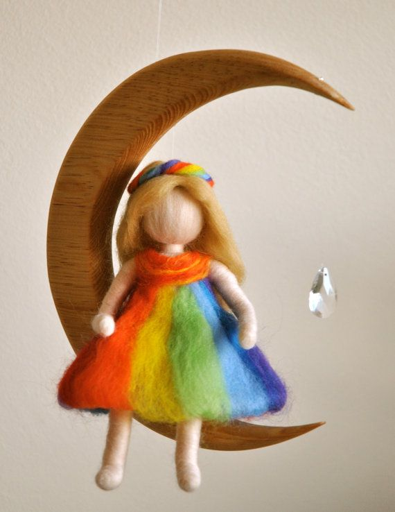 Children Mobile Waldorf inspired needle felted : The Rainbow fairy in the moon with crystal