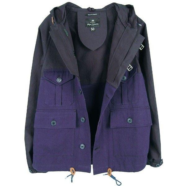 NIGEL CABOURN Rangoon Jacket - Navy (1.490 BRL) ❤ liked on Polyvore featuring outerwear, jackets, coats & jackets, tops, leather jacket, waxed jacket, navy blue jacket, real leather jacket and lightweight military jacket