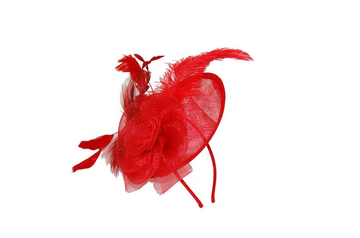 Red Sinamay Shaped Disc Fascinator with Crin Flower & Feathers  EBFAS-011 £20.50