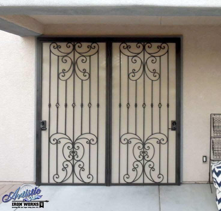 Papillion wrought iron security screen door for patio for Security patio screen doors