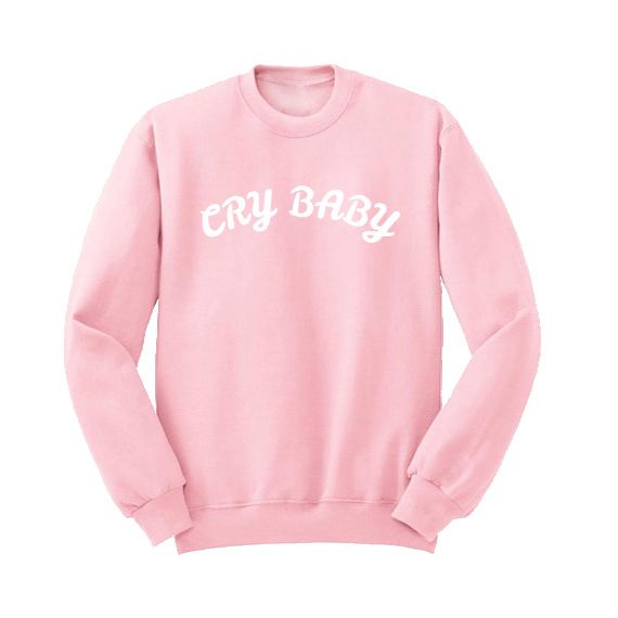Colthing Women Autumn Winter Harajuku Fashion Letter Printed Cry Baby Hoodies Long Sleeve Crewneck Pink Sweatshirts Pullover #Affiliate