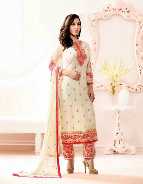 Partywear Off-White Colored Georgette Embroidered Semi Stitched Designer Salwar Suits #suit #salwarsuit #dressmaterial now available at ladyindia.com