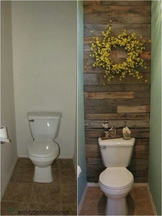 Add wood planks to the wall behind the toilet in a guest bath or half bath. -- Amazing! If not wood, could do tile, wallpaper, or a painted accent wall. by isrc