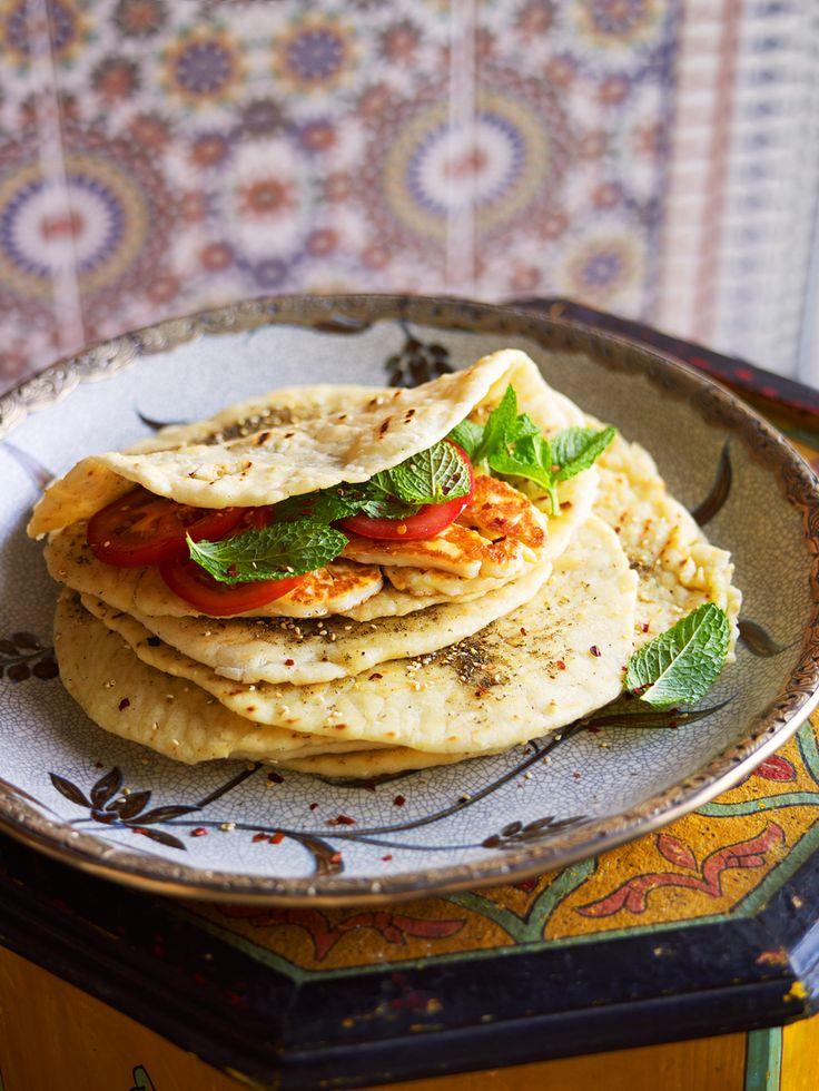 Lebanese zaatar pizza (man'oushe bi zaatar)