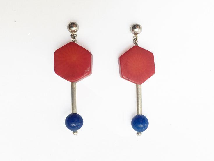 Earrings SU-MIN, Saffa, Gold with Blue Porcelain Ball, Length 22 mm (1) (1) (1) (1) (1) (1) (1) (1)