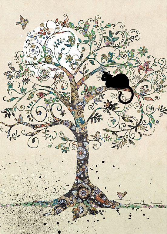 H021 Cat in a Tree in 2020 Black cat art, Bug art, Tree art