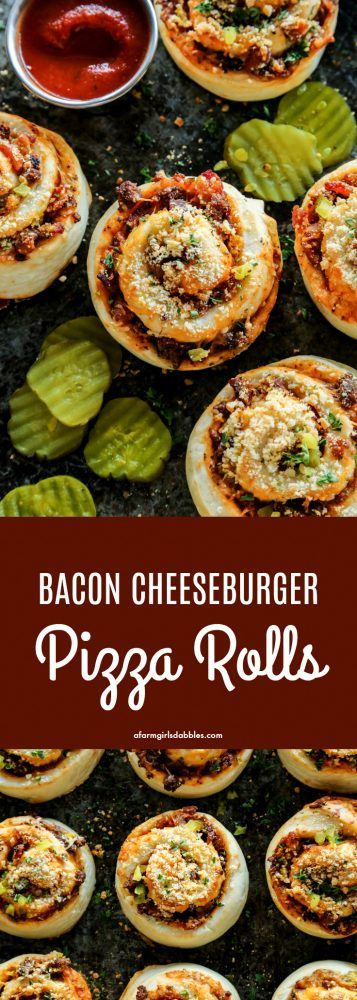 Bacon Cheeseburger Pizza Rolls from afarmgirlsdabbles.com #pizza #bacon #cheeseburger #pizzarolls #comfortfood #gameday