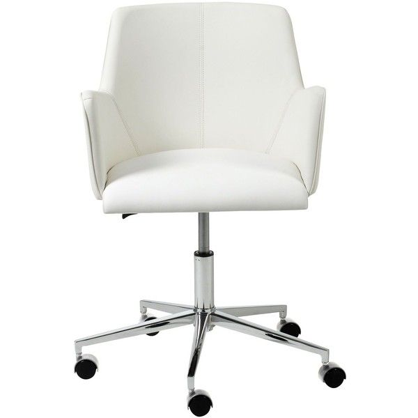 This chic, comfortable, adjustable-height white faux leather office chair has slender arms and a gleaming chrome finish base. Modern office armchair. White faux...