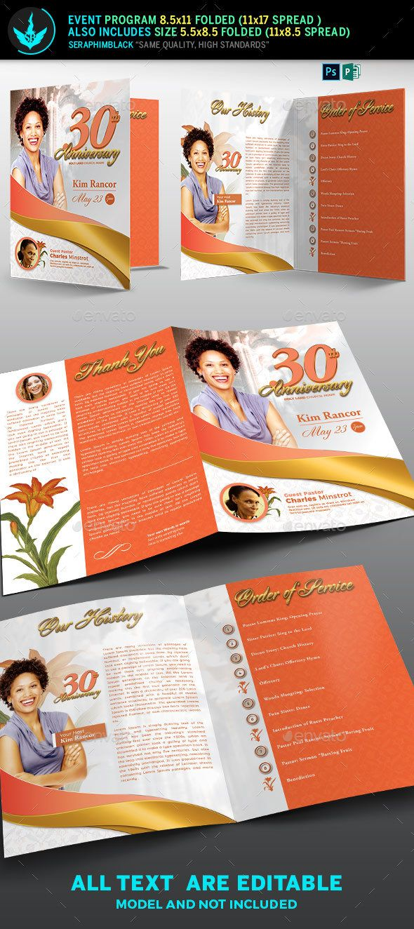 white gold plus peach church anniversary program informational brochures brochure template pinterest brochure template templates and fonts