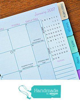 Discbound 2016-2017 Monthly Planner Pages | Sunday Start from Jane's Agenda https://www.amazon.com/dp/B01FPUM2TG/ref=hnd_sw_r_pi_dp_P91wxbHS0H4GK #handmadeatamazon