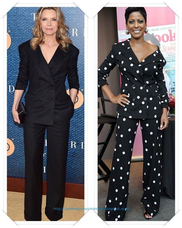 Un traje pantalón de Monse pre-fall 2017 se lo vimos, todo negro, a Michelle Pfeiffer en la premiere de The Wizard Of Lies; después se lo vimos, en su versión de lunares a Tamron Hall en los Beauty Awards.