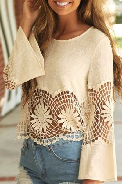 Hollow Out Scoop Neck Long Sleeves Blouse in boho bohemian hippie gypsy style. For more followwww.pinterest.com/ninayayand stay positively #inspired