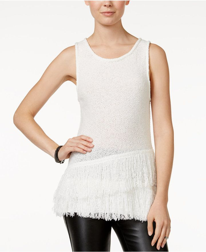 Bar III Sleeveless Fringe Sweater, Only at Macy's