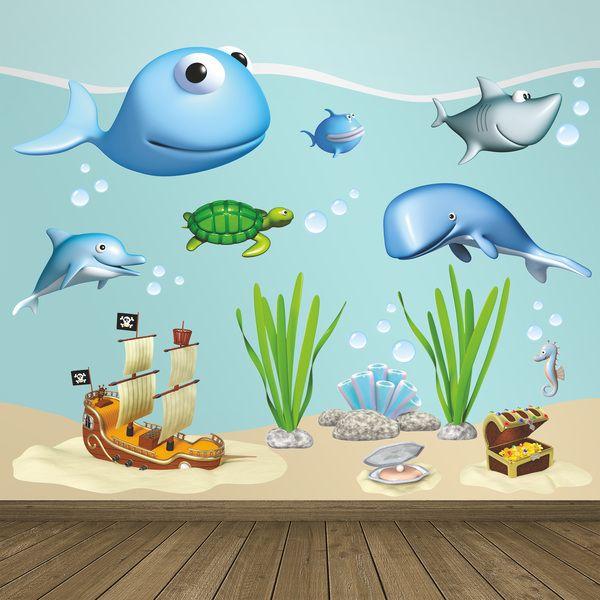 Animali oceano barcas e forziere - Adesivi per bambini. Adesivi murali bambini a kit. #adesivimurali #decorazione #modelli #mosaico #barca #forziere #tesoro #tartaruga #balena #tiburón #StickersMurali