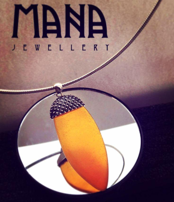 Silver & orange crystal acorn necklace by MANA jewellery https://www.etsy.com/shop/MANAByGekova