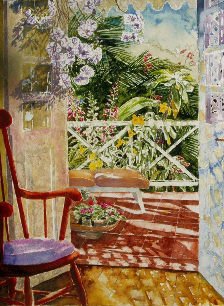 "tropical verandah tortola BVI 5 - our studido / villa micheal zarowsky - 30"" x 22"" watercolour on arches paper"