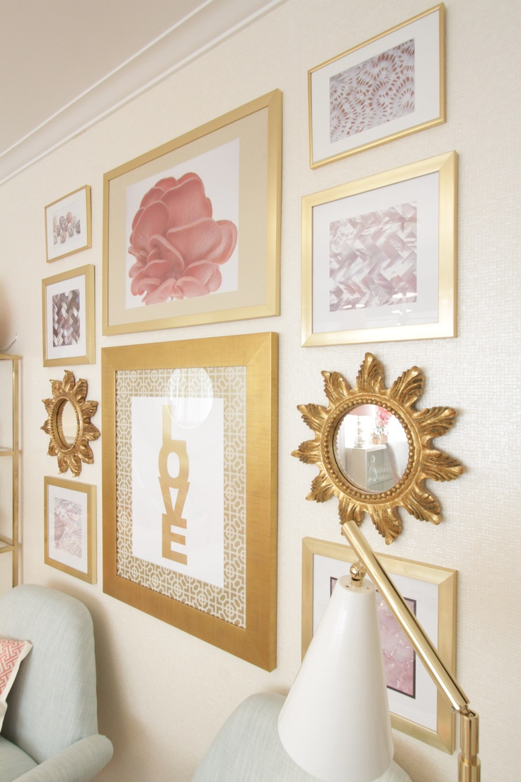 Project by Ana Antunes for the tv home makeover show - Coral geometric fabrics and rug, Mother pearl materials, Big round white mirror, Ikea vittjo shelves painted gold, caitlin wilson fabrics, designer's guild fabrics, pastel shades, gallery wall