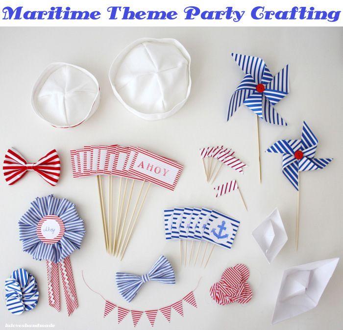 lu loves handmade: #handmade #maritime #party #decor #diy #sailor #nautical #bunting #ships #pompom
