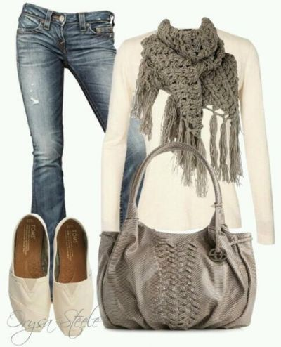 Cute grey and white casual outfit girl fashion cute style scarves jeans