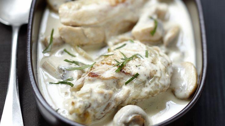 Pollo a la nata con champiñones