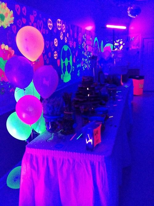 Blacklight Party Table