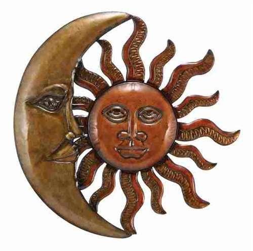 Large 20 Quot Copper Bronze Finish Celestial Sun Moon Metal