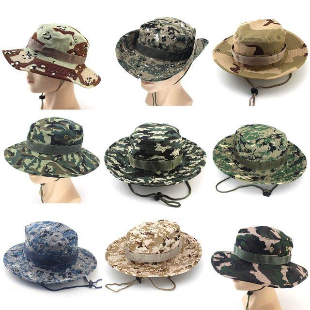 adb186814ae2b8 Camouflage Bucket Hats Wide Brim Sun Cap Ripstop Camo Fishing Hunting Hiking  Men Safari Summer Jungle with String Hat Review