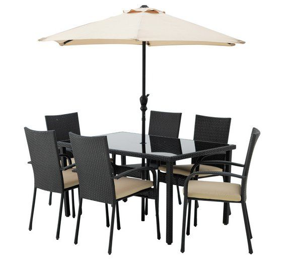 Buy HOME Lima Rattan Effect 6 Seater Dining Set with Cushions at Argos.co. Garden  TableGarden ...