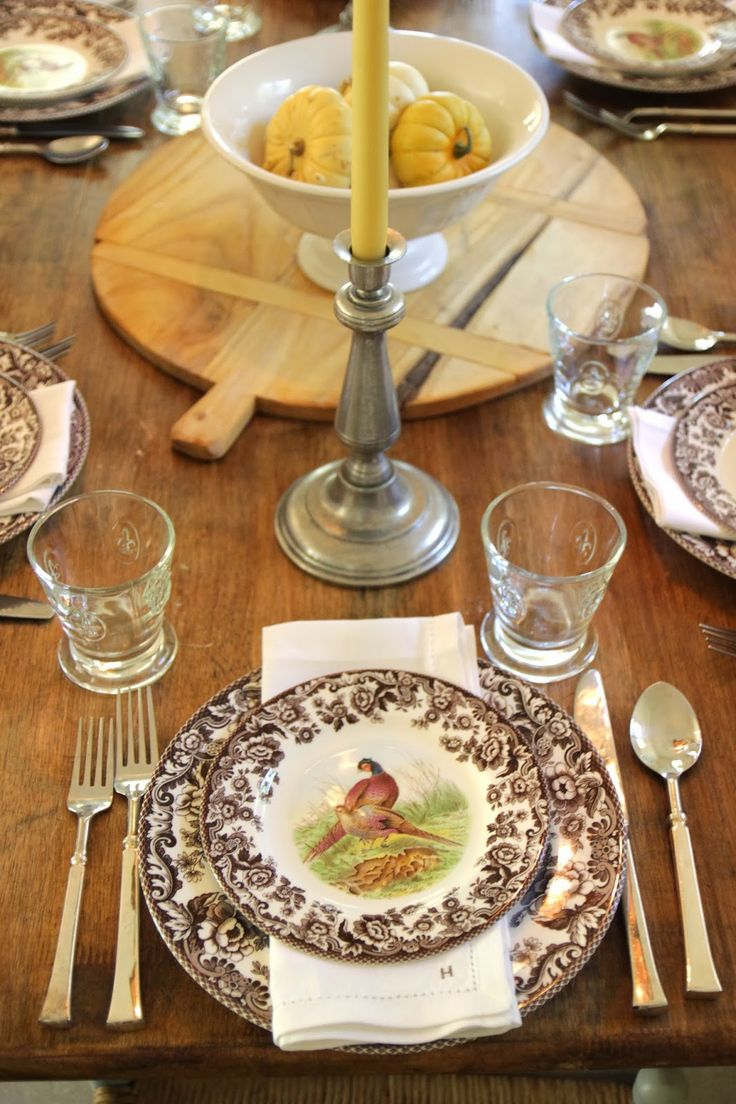 Jenny Steffens Hobick: Creams U0026 Brown Fall Table Setting   Spode Woodland  Dishes With Creamy